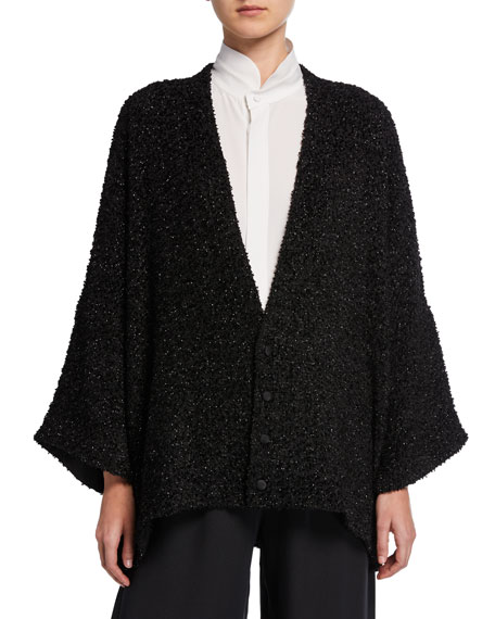 Eskandar Tops SHIMMERED BOUCLE-WOOL BUTTON-FRONT CARDIGAN
