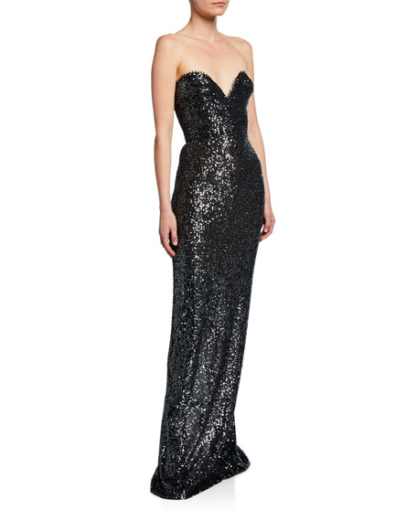 Naeem Khan Sequined Strapless Sweetheart Gown