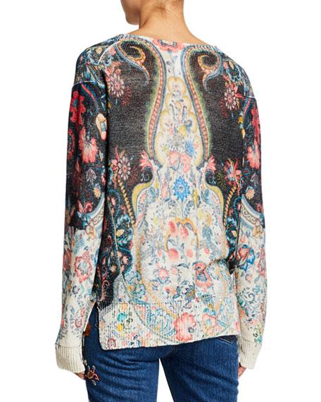 Etro Sequined Linen V-Neck Sweater