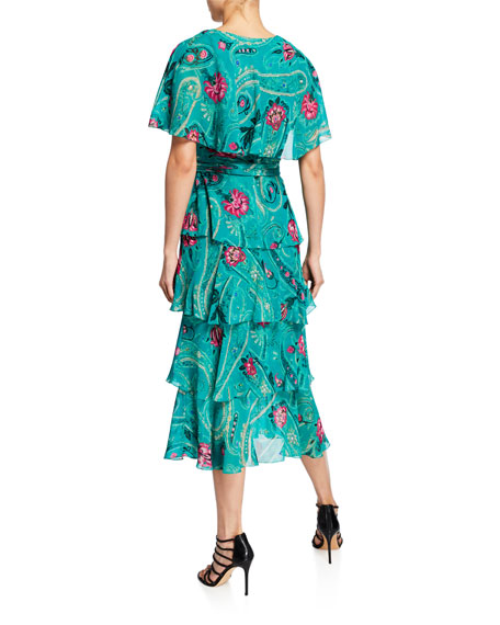 Etro Floral-Print Ruffled Georgette Dress