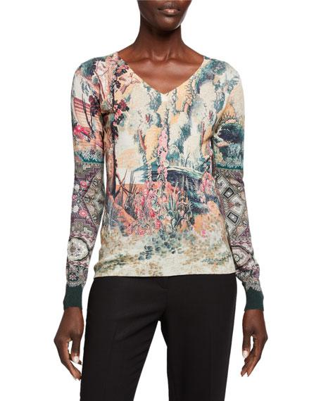 Etro Castle-Print Silk/Cashmere V-Neck Sweater In Beige