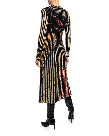 Etro Long-Sleeve Pleated Floral-Print Dress