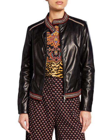 Etro Passementerie-Trim Leather Cropped Jacket