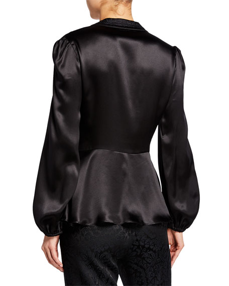 Etro Passementerie-Trim Satin Balloon-Sleeve Blouse