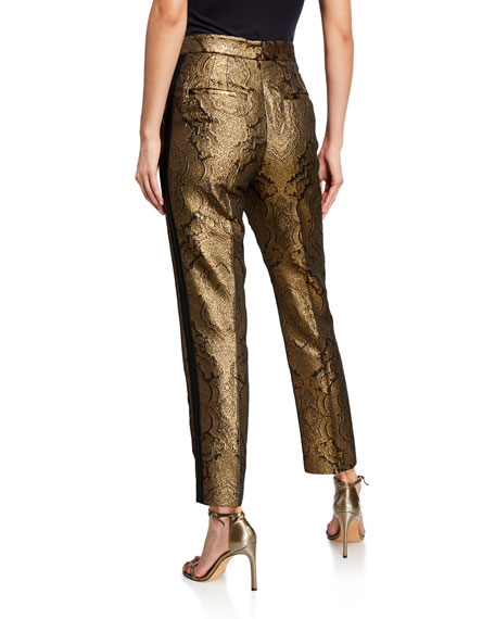 Etro Jacquard Metallic Paisley Tux-Striped Trousers