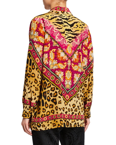 Etro Neon Leopard Button Front Tunic
