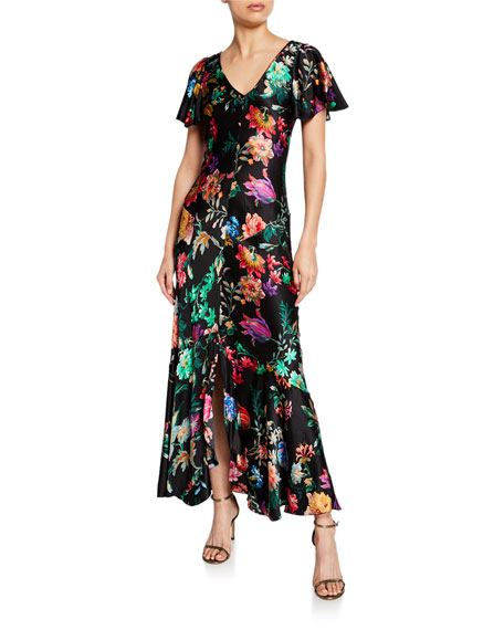 Etro Hammered Jacquard Flutter-Sleeve Gown
