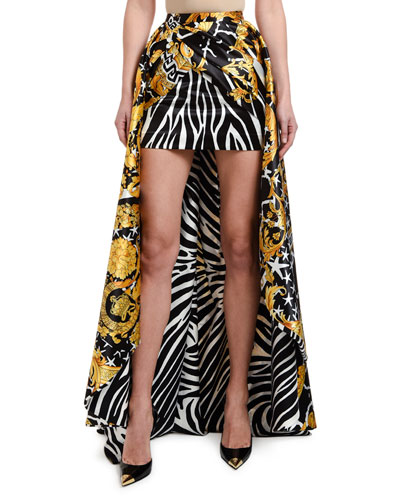 Zebra & Brocade Printed High-Low Ball Skirt