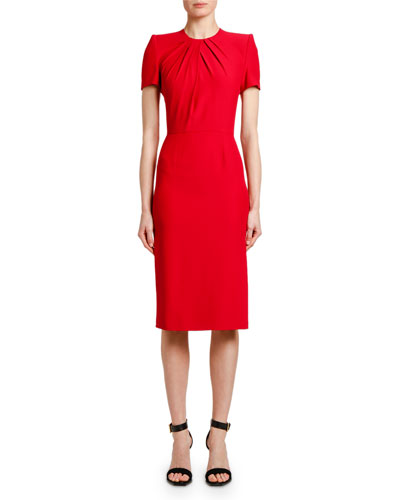 Short-Sleeve Crepe Sheath Dress