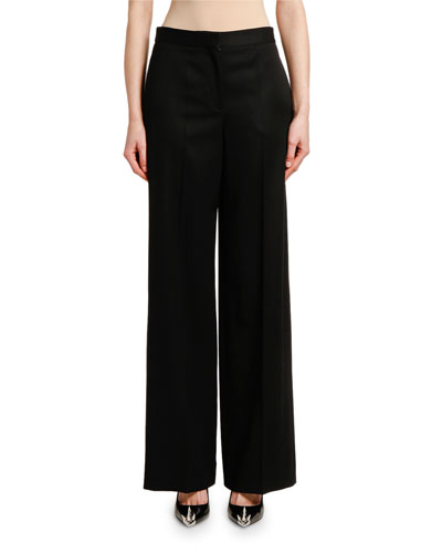 Wide-Leg Lightweight Wool-Silk Pants