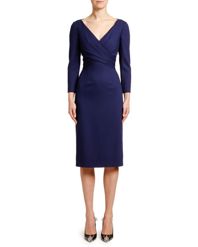 Bracelet-Sleeve V-Neck Crepe Dress