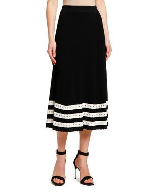 823978f84dcf Alexander McQueen Striped-Hem Ribbed Knit Midi Skirt