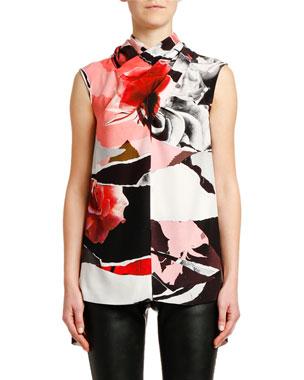 9b52eed6d48c Alexander McQueen Sleeveless Rose-Print Crepe de Chine Blouse