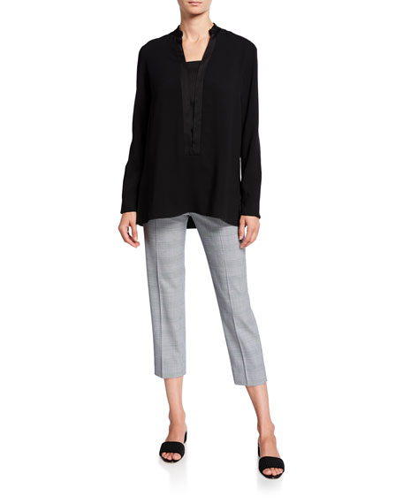 Piazza Sempione Audrey Prince of Wales Checked Pants, White-Blue