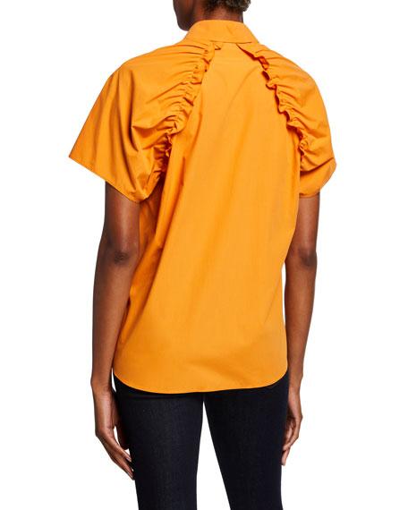 Akris punto Cotton Poplin Short-Sleeve Blouse