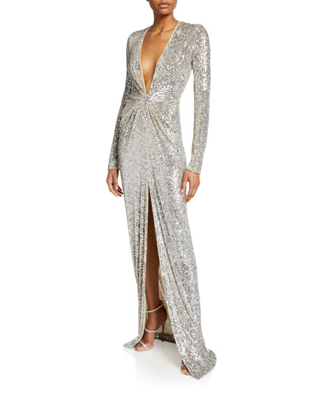 Naeem Khan Long-Sleeve V-Neck Sparkle Gown