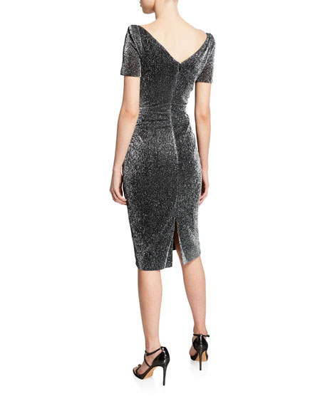 Talbot Runhof Metallic Voile Short-Sleeve Dress