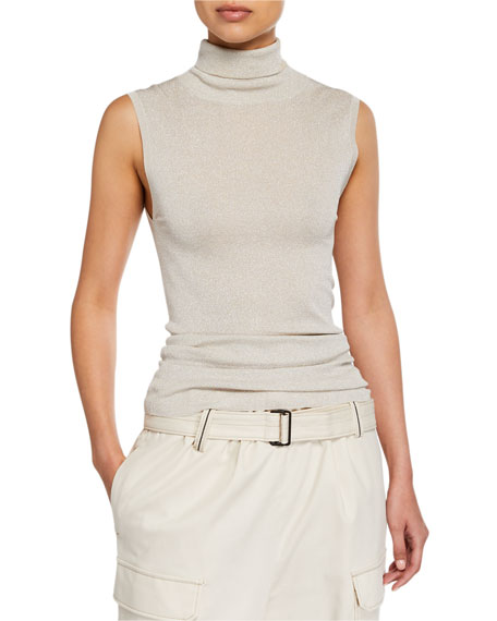 Brunello Cucinelli Shimmer Sleeveless Turtleneck Top