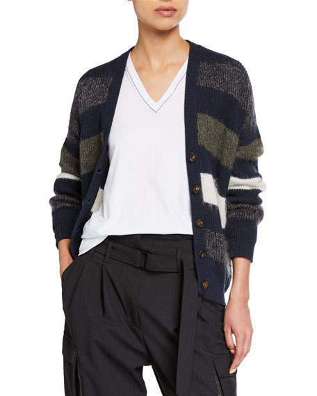 Brunello Cucinelli Mohair Striped Button-Front Cardigan