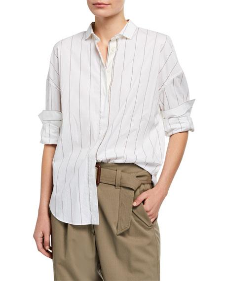 Brunello Cucinelli Monili-Beaded Striped Poplin Shirt