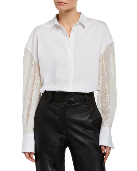 Brunello Cucinelli Sequined Poplin Button-Front Shirt