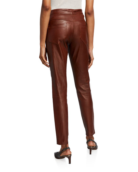 Brunello Cucinelli Leather 5-Pocket Leggings