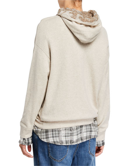 Brunello Cucinelli Sequined Floral Cashmere Hoodie