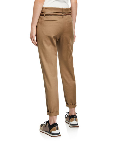 Brunello Cucinelli Rope-Belted Stretch-Cotton Trousers