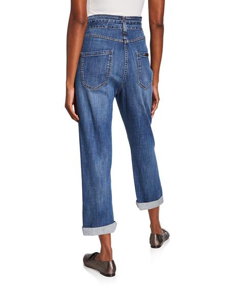 Brunello Cucinelli Dark-Wash Boyfriend Jeans with Grommet Belt