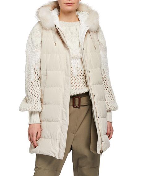 Brunello Cucinelli Fox-Fur Trim 4-In-One Cashmere Cardigan & Taffeta Vest
