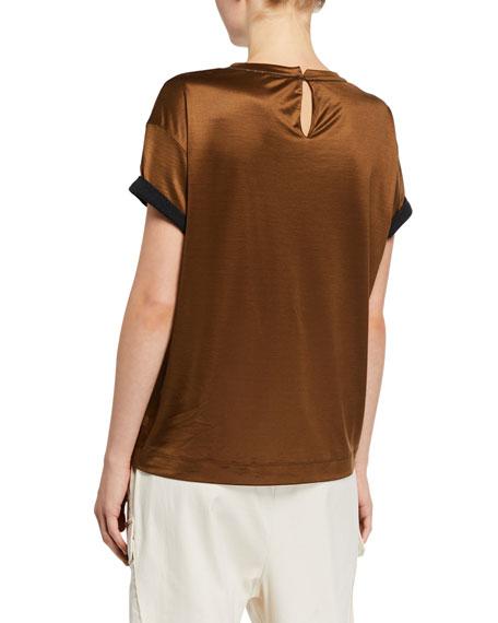 Brunello Cucinelli Monili-Cuff Silk Jersey Crewneck T-Shirt