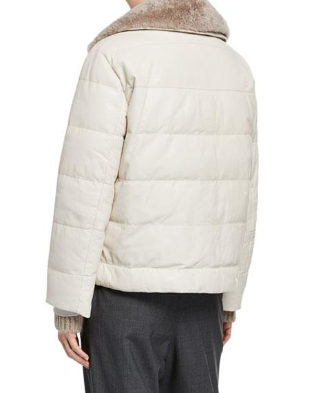 Brunello Cucinelli Cashmere Fur Trim Leather Taffeta Down Bomber