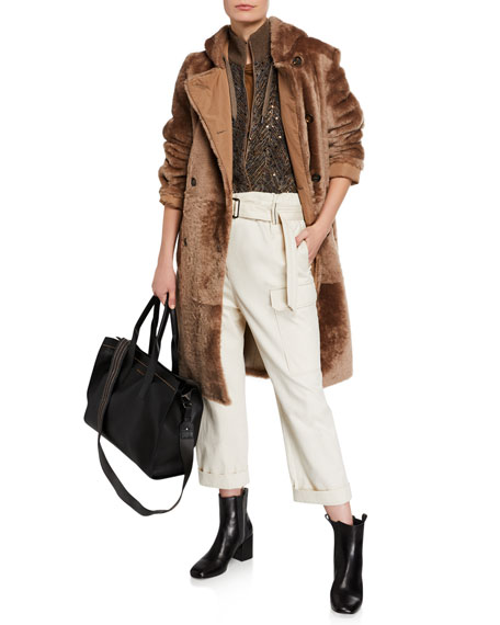 Brunello Cucinelli Cotton Cargo-Style Monili-Belted Pants