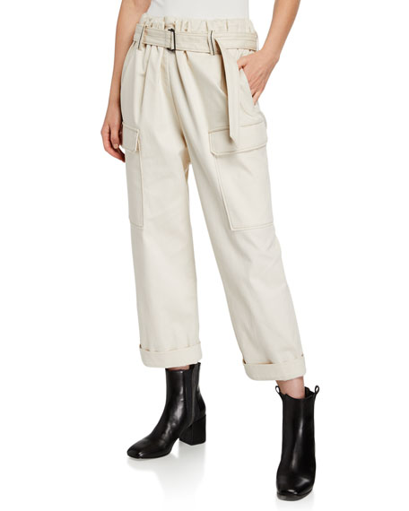 Brunello Cucinelli Cotton Cargo-Style Monili-Belted Pants