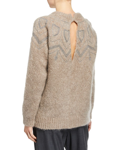 Brunello Cucinelli Monili-Embellished Mohair Crewneck Sweater