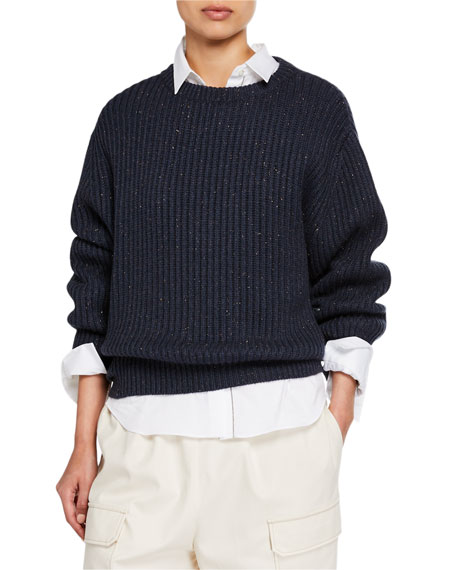 Brunello Cucinelli Cashmere Shimmer Ribbed Sweater