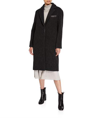 Monili Trim Cashmere Wool Overcoat