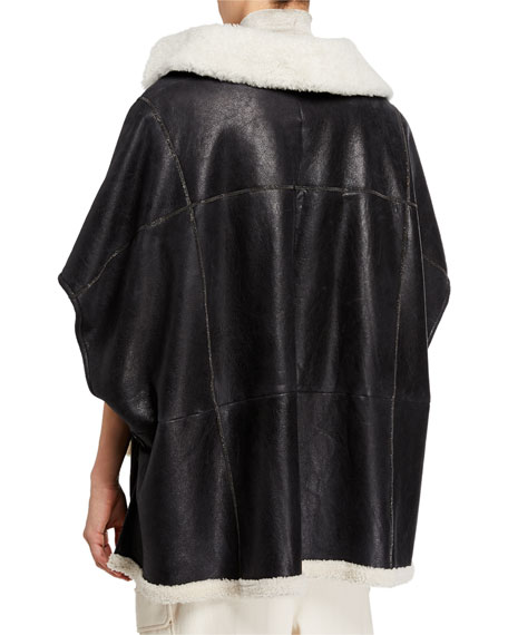 Brunello Cucinelli Monili-Beaded Leather & Fur Zip Front Poncho