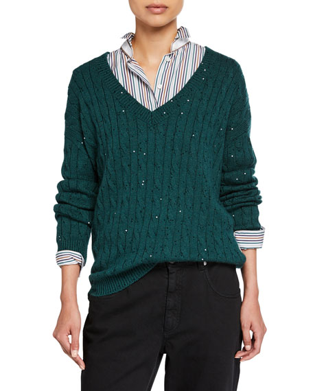 Brunello Cucinelli Cashmere-Silk Sequined Cable-Knit Sweater