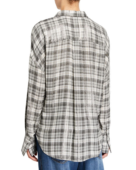 Brunello Cucinelli Oversized Shimmer Button-Front Cardigan