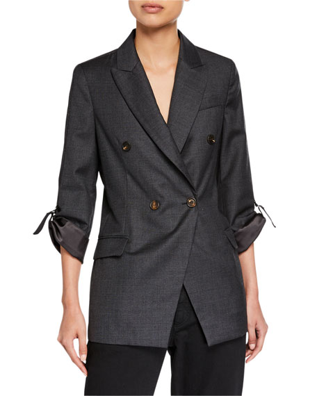 Brunello Cucinelli Ribbon-Sleeve Wool Boyfriend Blazer