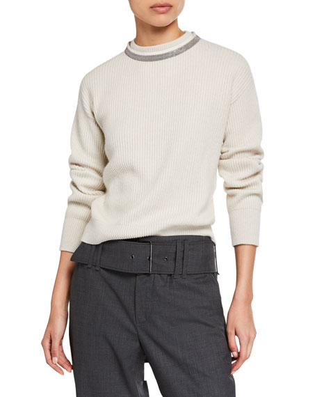 Brunello Cucinelli Cashmere Ribbed Crewneck Sweater