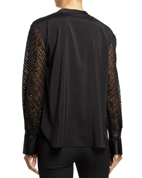 Brunello Cucinelli Sequined-Sleeve Silk Shirt