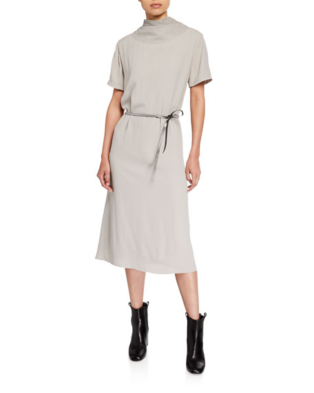 Brunello Cucinelli Monili-Trim High-Neck Silk Dress