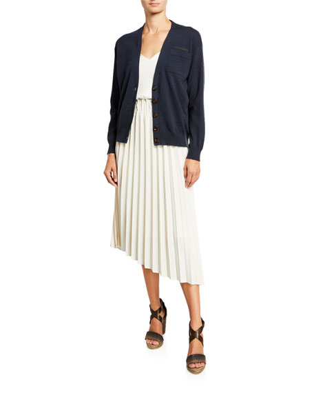 Brunello Cucinelli Pleated Techno-Gabardine Skirt