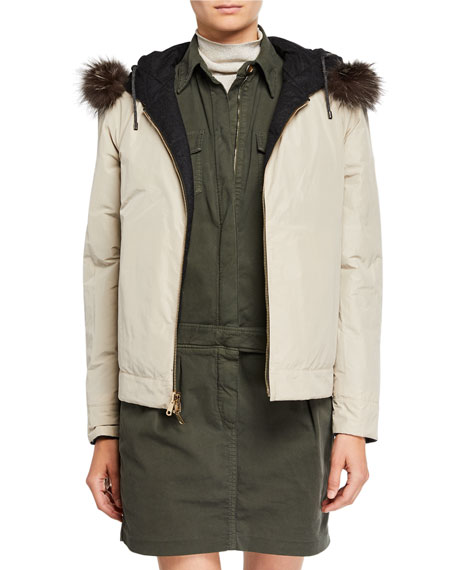 Brunello Cucinelli Fur-Trim Reversible Wool Taffeta Down Bomber