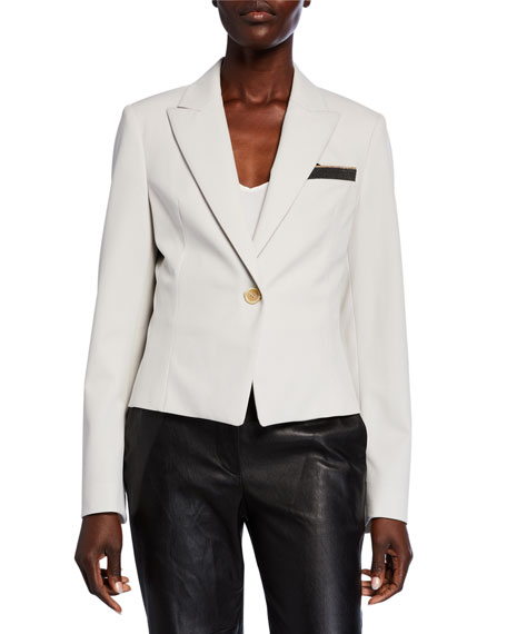 Brunello Cucinelli Cropped Blazer with Monili Pocket