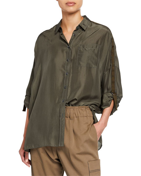 Brunello Cucinelli Oversized Satin Button-Front Tab-Sleeve Shirt