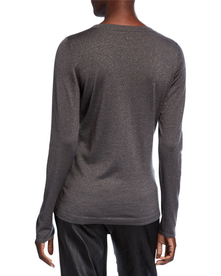 Brunello Cucinelli Metallic Cashmere-Silk Sweater