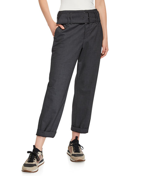 Brunello Cucinelli Lightweight Wool Straight Leg Pants